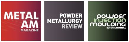 The logos for the Inovar publications - Metal AM, Powder Metallurgy Review and Moulding International - The logos for the Inovar publications - Metal AM, Powder Metallurgy Review and Moulding International