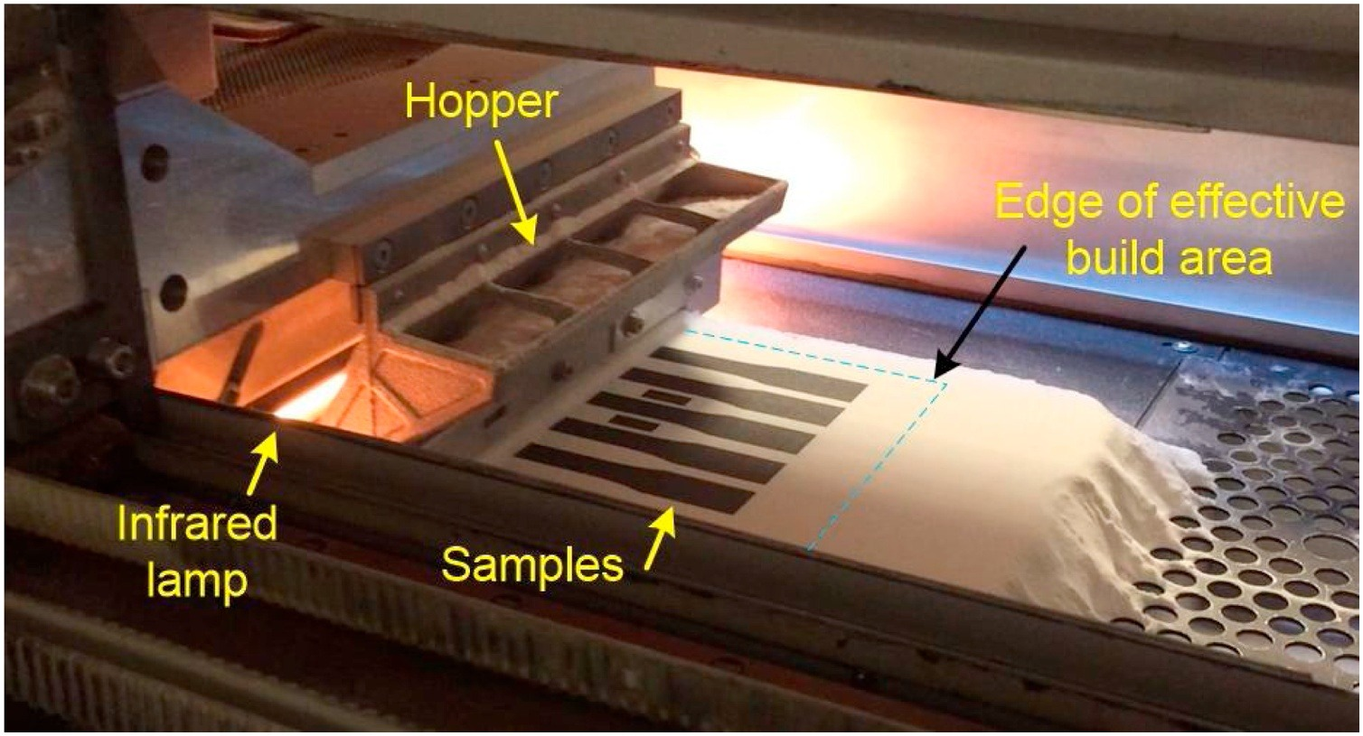 The layout of the building process on the HSS system. - This image shows the layout of the building process on the HSS system. Arrows point to the infrared lamp, samples, hopper and the edge of the effective build area.