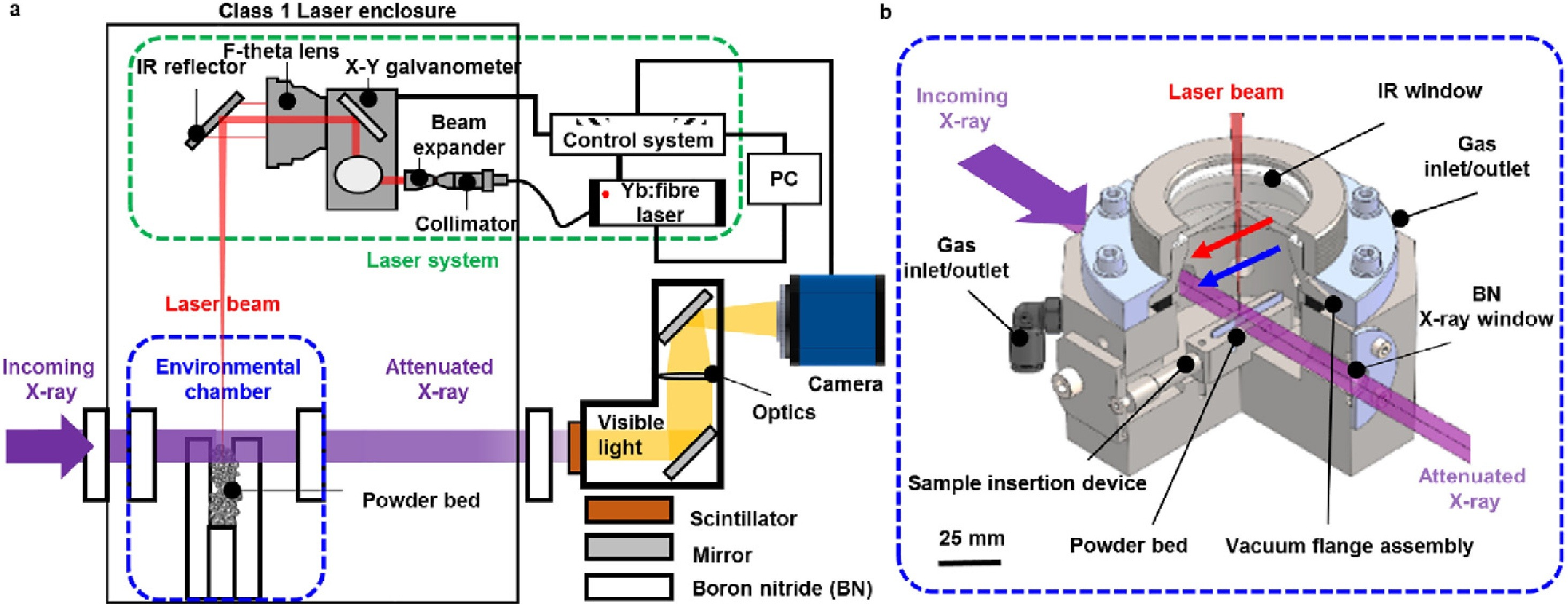 Schematic of the LAMPR mounted on a synchrotron beam line - Schematic of the LAMPR mounted on a synchrotron beam line. It comprises three sub-assemblies: One a stainless steel environmental build chamber, Two a laser system, and three a laser enclosure. A three-quarter section view of the environmental chamber. The purple arrows indicate the directions of the incoming X-ray beam and the attenuated X-ray beam. The red arrow indicates the scan direction of the laser beam, which moves parallel along the length of the powder bed. The blue arrow indicates the argon flow direction which is perpendicular to the X-ray beam and parallel to the laser beam.
