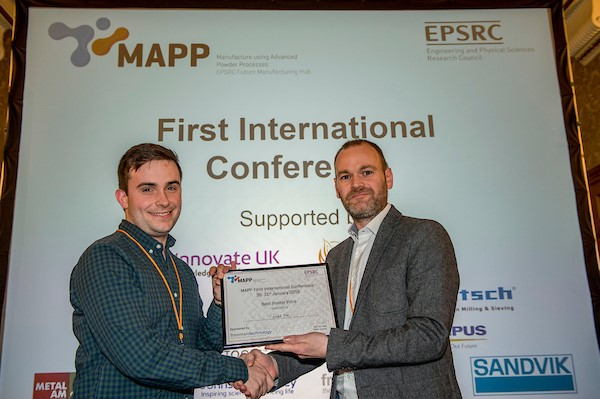 First place Poster Presentation Luke Fox, University of Sheffield.