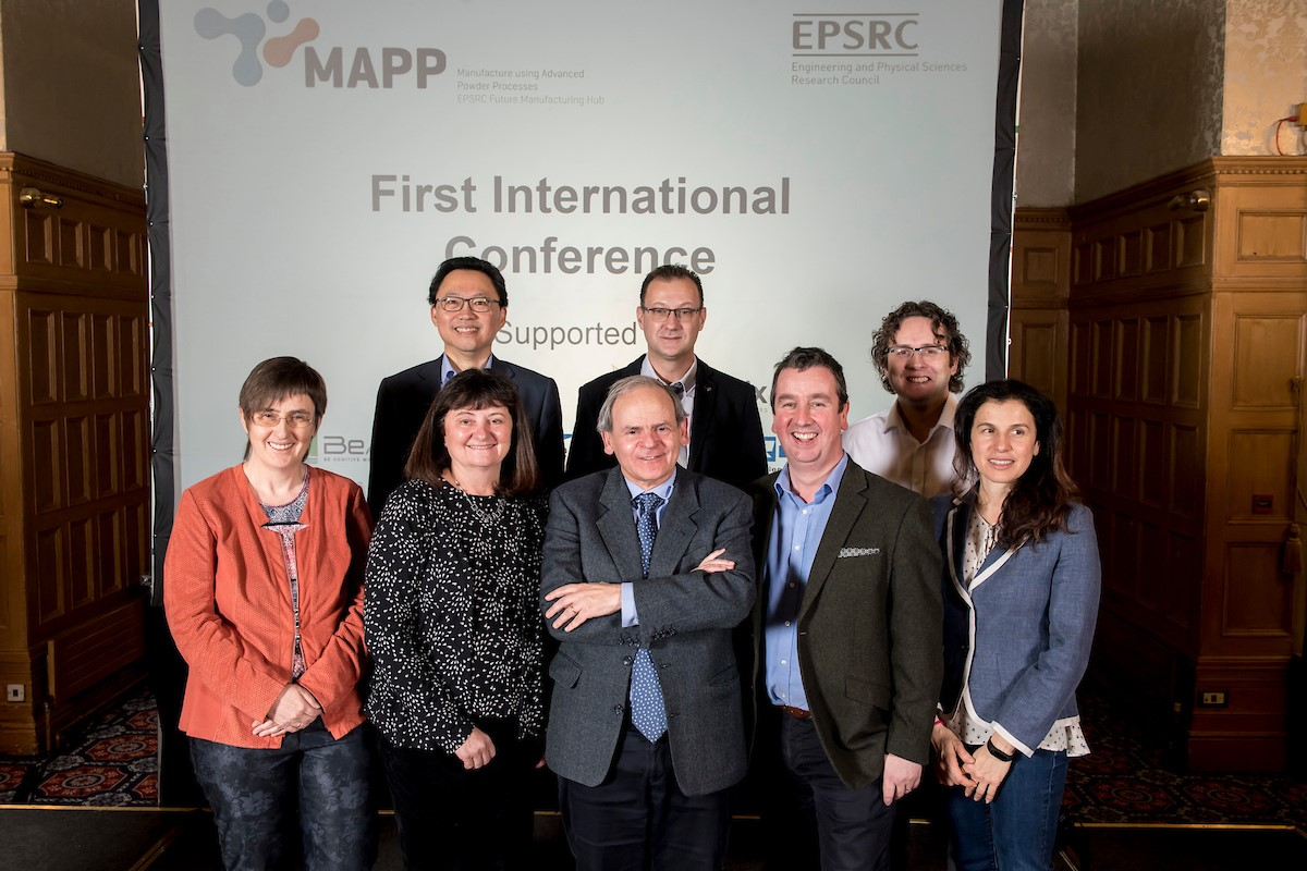 MAPP Scientific Advisory Board - Pictured left to right front row Professor Carolin Körner, Professor Tresa Pollock, Professor Javier Llorca, Professor Iain Todd, Professor Barbara Previtali. Back row, left to right, Professor Jin Ooi, Professor Fabrice Rossignol and Dr Richard France Senior Business Development Manager.